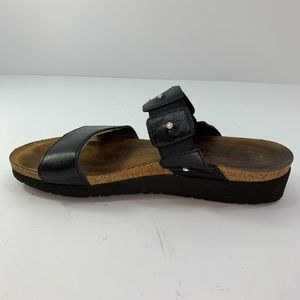 Naot Ashley Black Leather Strap Wedge Sandals 9